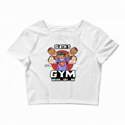 funny gym sloth the goonies fitness t shirt vectorized Crop Top | Artistshot
