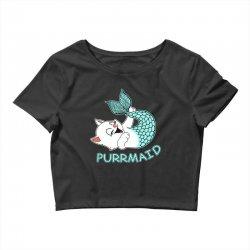funny purr maid cat mermaid Crop Top | Artistshot