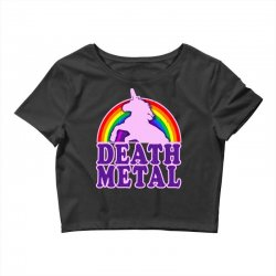 funny death metal unicorn rainbow Crop Top | Artistshot