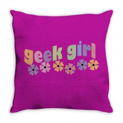 geek girl daisies Throw Pillow | Artistshot