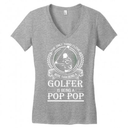 Golfer Pop Pop Women's V-neck T-shirt Designed By Designbysebastian