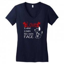 love is when a puppy Women's V-Neck T-Shirt | Artistshot