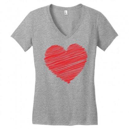 Heart Women's V-neck T-shirt Designed By Designbysebastian