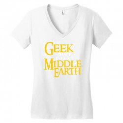 geek shall inherit middle earth Women's V-Neck T-Shirt   Artistshot