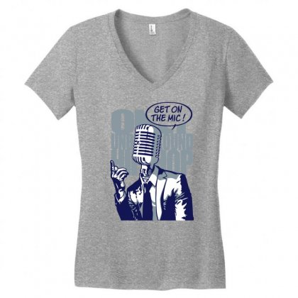 Get On The Mic Women's V-neck T-shirt Designed By Gematees