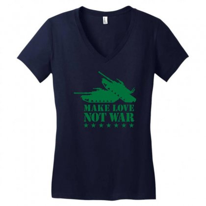 Make Love Not War Women's V-neck T-shirt Designed By Gematees