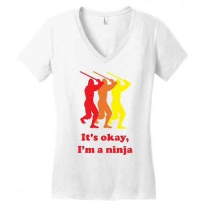 I`m A Ninja Women's V-neck T-shirt Designed By Gematees