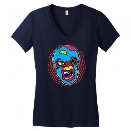 Zombie Luchador Women's V-neck T-shirt Designed By Gematees