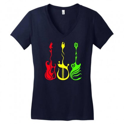 Guitar Rasta Women's V-neck T-shirt Designed By Gematees