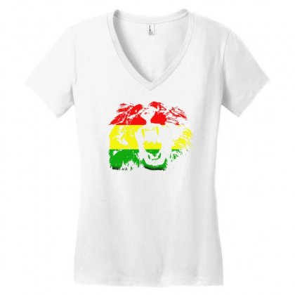 Black Rasta Lion Women's V-neck T-shirt Designed By Gematees