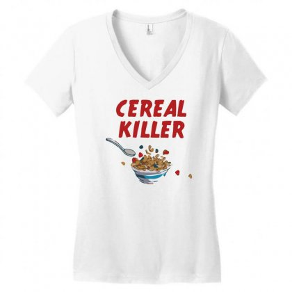 Cereal Killer Women's V-neck T-shirt Designed By Gematees