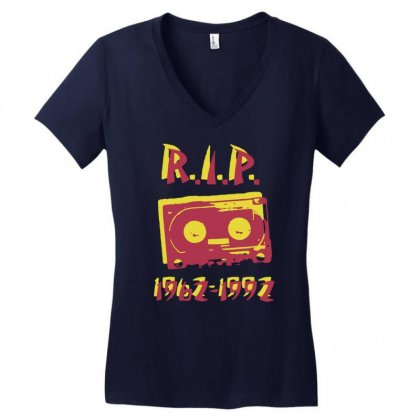 Retro Cassette Tape Rip Women's V-neck T-shirt Designed By Gematees