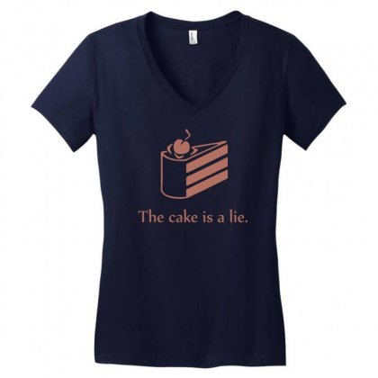 Cake Is A Lie Women's V-neck T-shirt Designed By Gematees