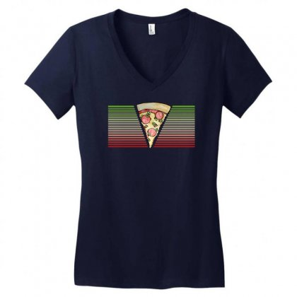 Pizza Love Retro 80s Women's V-neck T-shirt Designed By Gematees