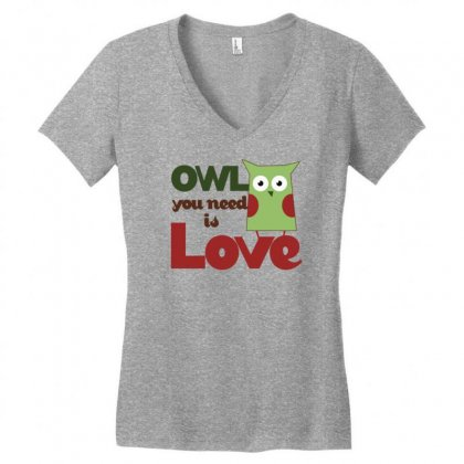 Owl Love Women's V-neck T-shirt Designed By Gematees