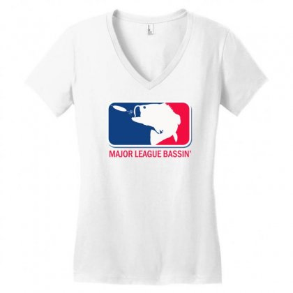 Major League Bass Funny Fishing Women's V-neck T-shirt Designed By Gematees