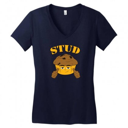 Stud Muffin Women's V-neck T-shirt Designed By Gematees