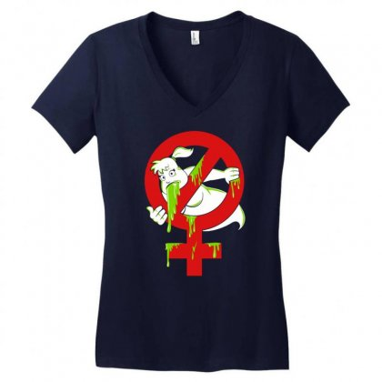 Destroying Funny Ghost Women's V-neck T-shirt Designed By Gematees