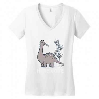 Herbivore Funny Dino Women's V-neck T-shirt