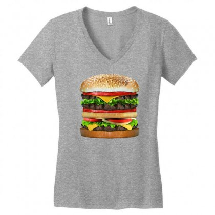 Tasty Delicious Burger Women's V-neck T-shirt Designed By Gematees