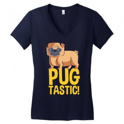 Pug Tastic Women's V-neck T-shirt Designed By Gematees