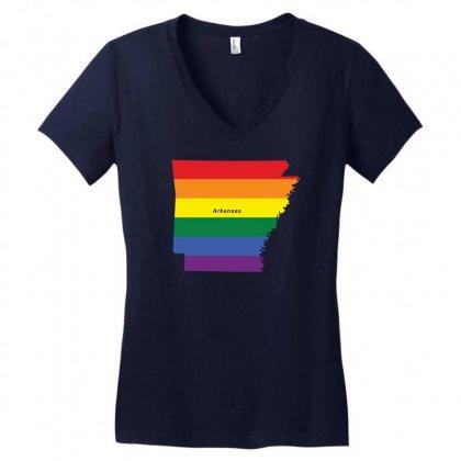 Arkansas Rainbow Flag Women's V-neck T-shirt Designed By Designbysebastian