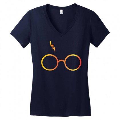 Harry Potter Lightning Glasses Women's V-neck T-shirt Designed By Designbysebastian