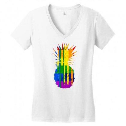 Rainbow Flag Pattern Pineapple Women's V-neck T-shirt Designed By Killakam