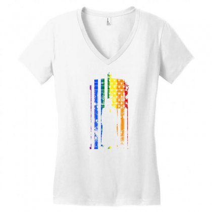 Rainbow Dr Who Tardis Women's V-neck T-shirt Designed By Killakam