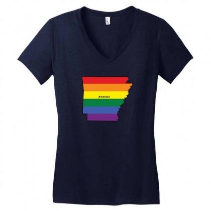 Arkansas Rainbow Flag Women's V-neck T-shirt Designed By Killakam