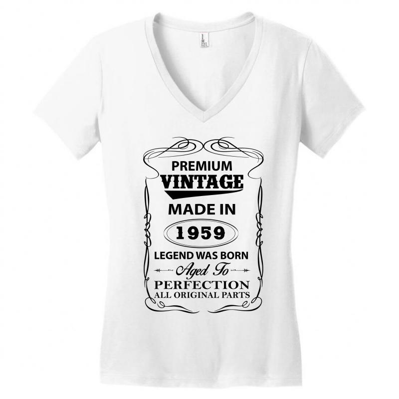 b09d8d365 Custom Vintage Legend Was Born 1959 Women's V-neck T-shirt By Rardesign -  Artistshot