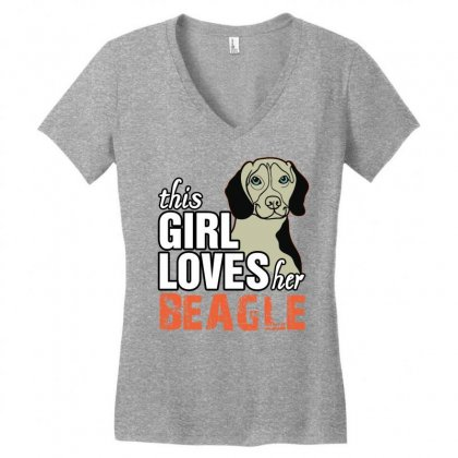 This Girl Loves Her Beagle Women's V-neck T-shirt Designed By Killakam