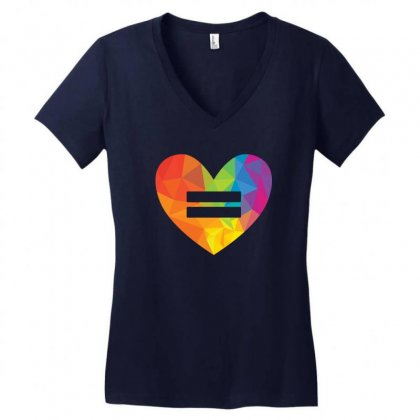 Rainbow Equality Heart Women's V-neck T-shirt Designed By Tshiart