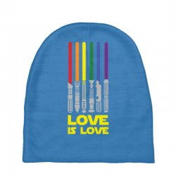 Lightsaber Rainbow - Love Is Love Baby Beanies | Artistshot