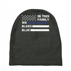 in this family we bleed blue funny Baby Beanies | Artistshot