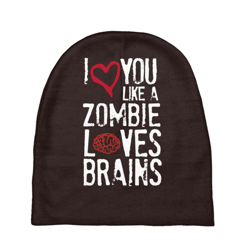 54e7bebe32a Custom I Love You Like Zombies Love Brains Baby Beanies By ...