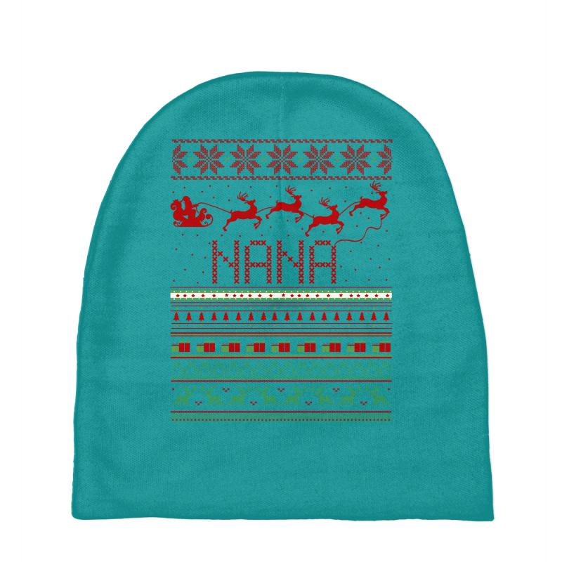 c752a8b1d8bb9 Custom Nana Ugly Christmas Sweater Xmas Baby Beanies By Rardesign ...