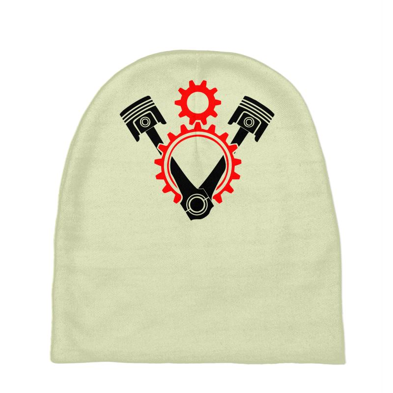 8d0f73e9039 Custom V8 Engine Pistons And Gears Symbol Baby Beanies By ...