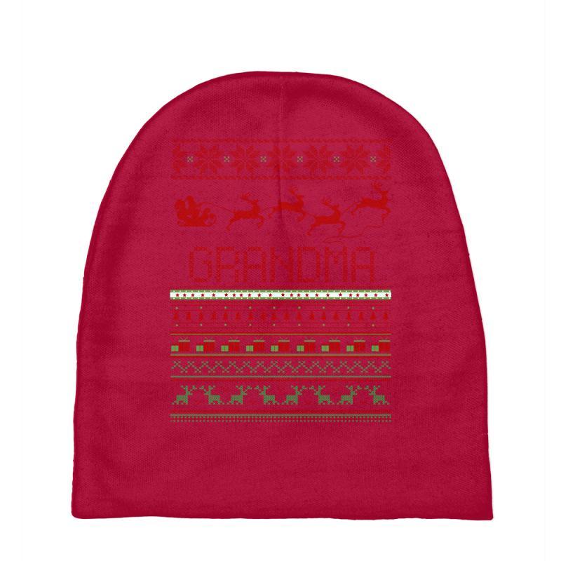 af8cda33eb514 Custom Grandma Ugly Christmas Sweater Xmas Baby Beanies By Rardesign ...