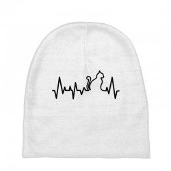 Cat Heartbeat Line Baby Beanies | Artistshot
