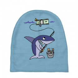 funny shark fishing for humans Baby Beanies | Artistshot