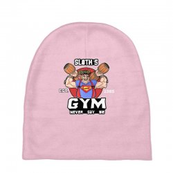 funny gym sloth the goonies fitness t shirt vectorized Baby Beanies | Artistshot