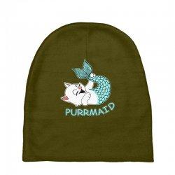 funny purr maid cat mermaid Baby Beanies | Artistshot