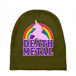 funny death metal unicorn rainbow Baby Beanies | Artistshot