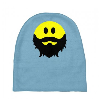 Bearded Smiley Face Baby Beanies Designed By Gematees