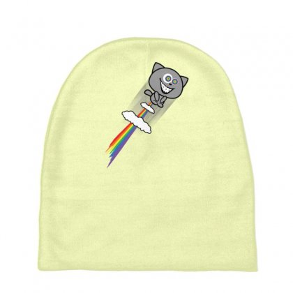 Stoned Cat Rainbow Fart Baby Beanies Designed By Gematees