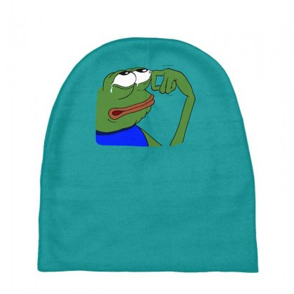 Sad Frog Funny Baby Beanies Designed By Gematees