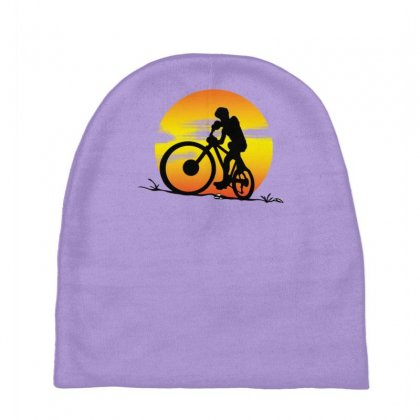 Mountainbike Sunset Baby Beanies Designed By Gematees
