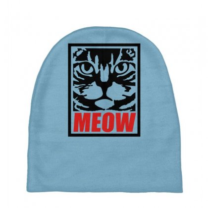 Funny Cat Meow Baby Beanies Designed By Gematees