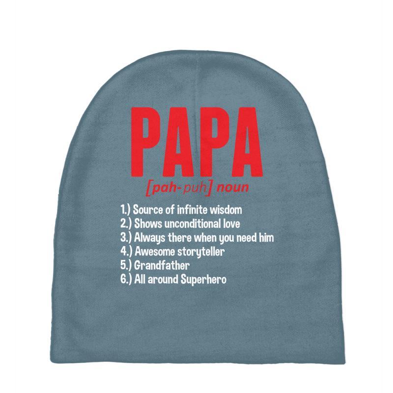Papa Noun Definition Baby Beanies By Artistshot